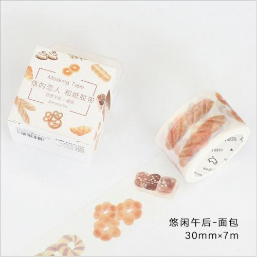 30mm Wide Leisure Afternoon Eat Bread Dessert Happy Life Decoration Washi Tape DIY Planner Diary
